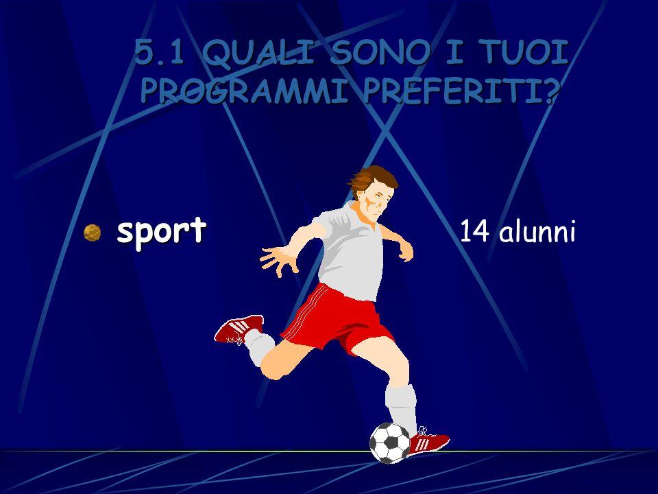 5.1 QUALI SONO I TUOI PROGRAMMI PREFERITI? sport sport 14 alunni