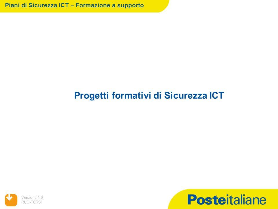 05/02/2014 Versione:1.0 RUO-FCRSI Progetti formativi di Sicurezza ICT Piani di Sicurezza ICT – Formazione a supporto