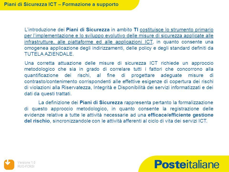 05/02/2014 Versione:1.0 RUO-FCRSI Lintroduzione dei Piani di Sicurezza in ambito TI costituisce lo strumento primario per limplementazione e lo svilup