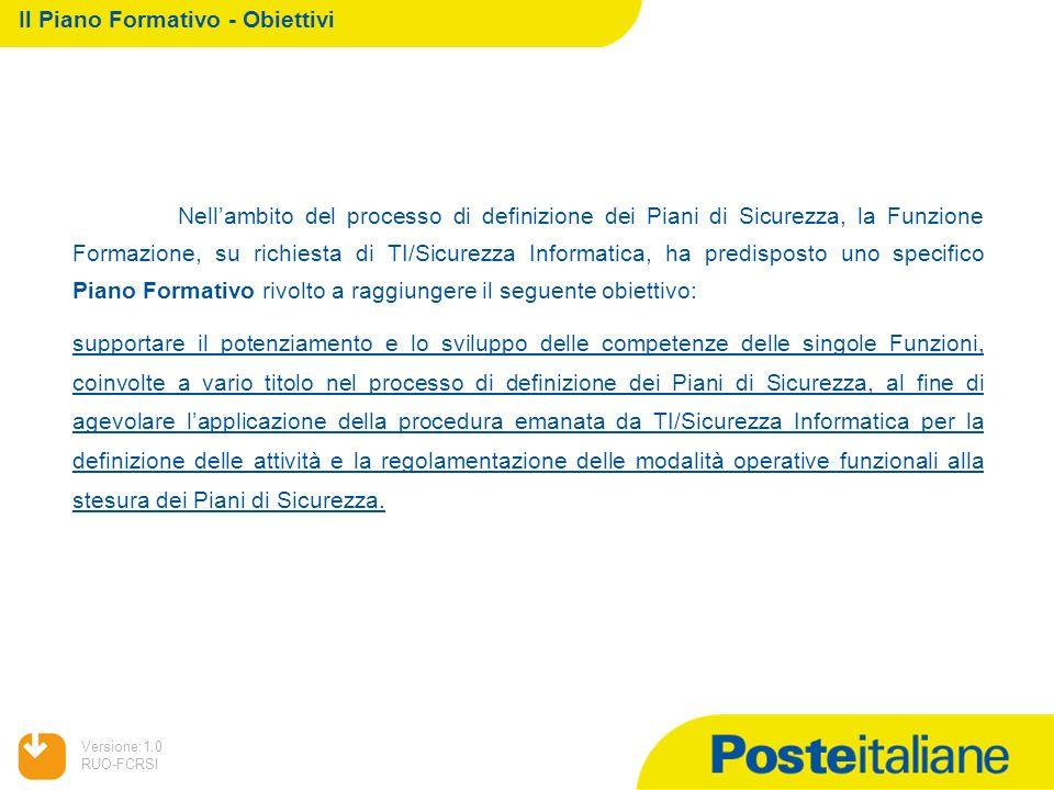 05/02/2014 Versione:1.0 RUO-FCRSI Nellambito del processo di definizione dei Piani di Sicurezza, la Funzione Formazione, su richiesta di TI/Sicurezza