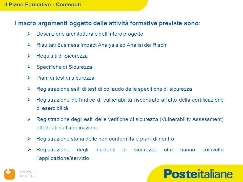 05/02/2014 Versione:1.0 RUO-FCRSI I macro argomenti oggetto delle attività formative previste sono: Descrizione architetturale dellintero progetto Ris