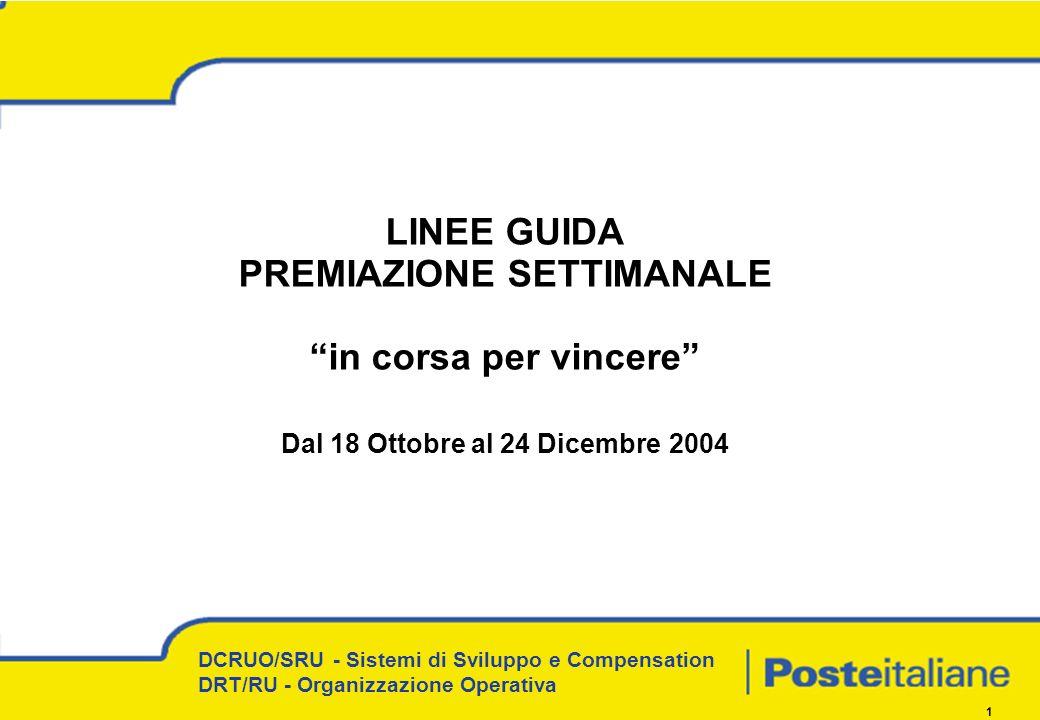 DCRUO/SRU - Sistemi di Sviluppo e Compensation DRT/RU - Organizzazione Operativa 1 LINEE GUIDA PREMIAZIONE SETTIMANALE in corsa per vincere Dal 18 Ottobre al 24 Dicembre 2004