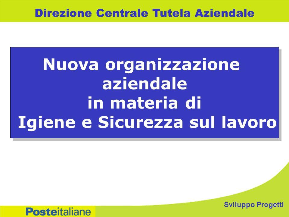 Sviluppo Progetti Direzione Centrale Tutela Aziendale Nuova organizzazione aziendale in materia di Igiene e Sicurezza sul lavoro Nuova organizzazione aziendale in materia di Igiene e Sicurezza sul lavoro