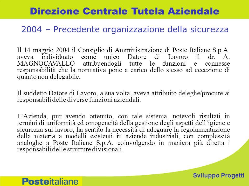 Direzione Centrale Tutela Aziendale Il 14 maggio 2004 il Consiglio di Amministrazione di Poste Italiane S.p.A.