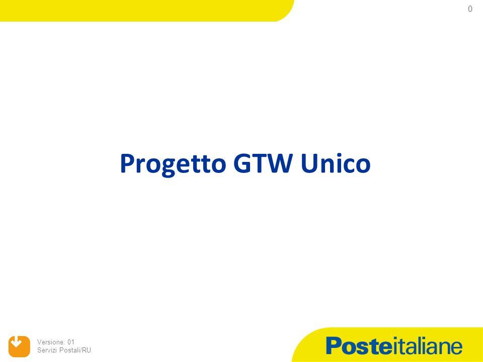 0 Versione: 01 Servizi Postali/RU Progetto GTW Unico