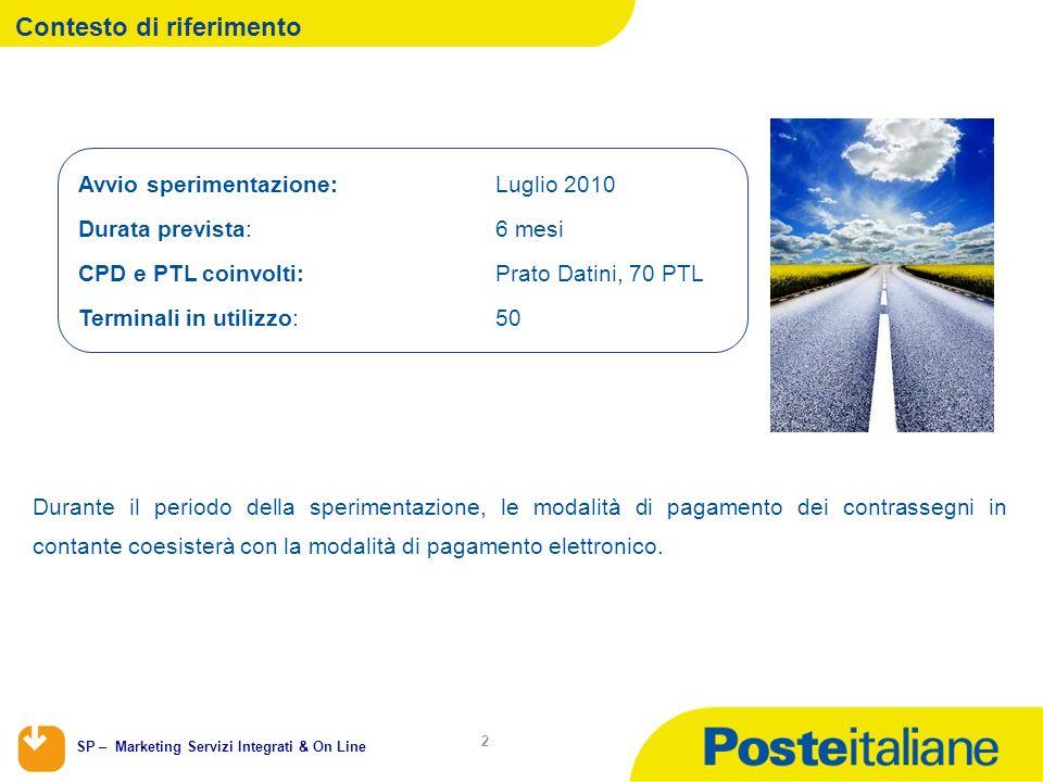 SP – Marketing Servizi Integrati & On Line 2 Contesto di riferimento Durante il periodo della sperimentazione, le modalità di pagamento dei contrasseg