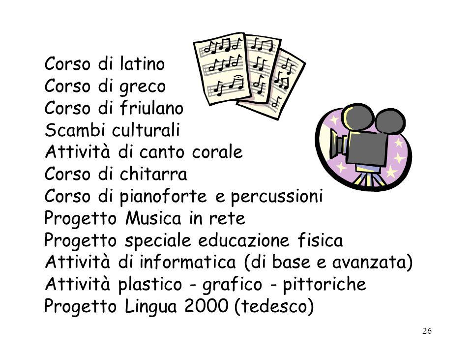 26 Corso di latino Corso di greco Corso di friulano Scambi culturali Attività di canto corale Corso di chitarra Corso di pianoforte e percussioni Prog