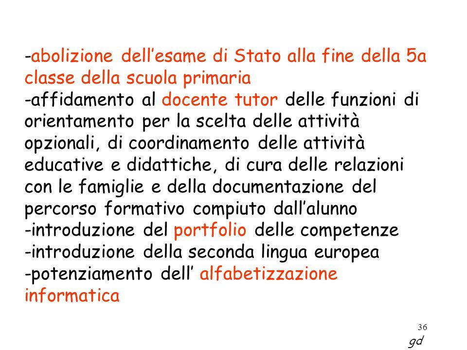 36 -abolizione dellesame di Stato alla fine della 5a classe della scuola primaria -affidamento al docente tutor delle funzioni di orientamento per la