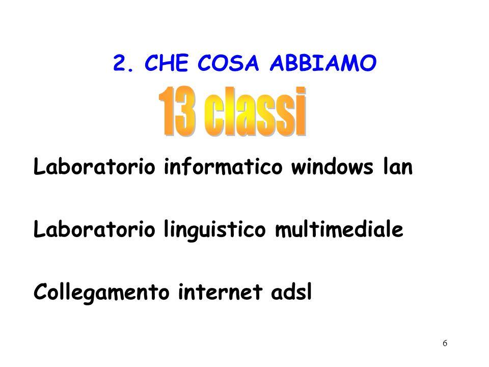 6 2. CHE COSA ABBIAMO Laboratorio informatico windows lan Laboratorio linguistico multimediale Collegamento internet adsl