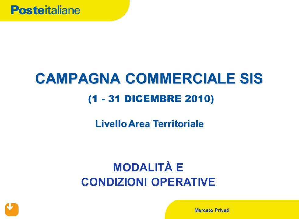 Mercato Privati CAMPAGNA COMMERCIALE SIS CAMPAGNA COMMERCIALE SIS (1 - 31 DICEMBRE 2010) Livello Area Territoriale MODALITÀ E CONDIZIONI OPERATIVE