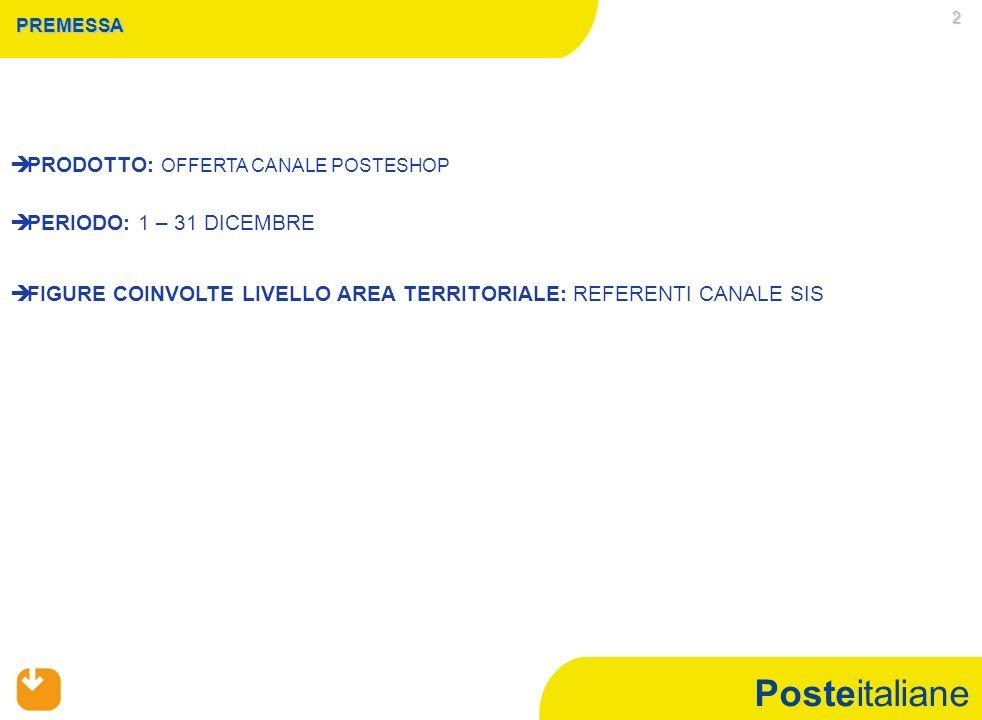 Posteitaliane 2 PREMESSA PRODOTTO: OFFERTA CANALE POSTESHOP PERIODO: 1 – 31 DICEMBRE FIGURE COINVOLTE LIVELLO AREA TERRITORIALE: REFERENTI CANALE SIS