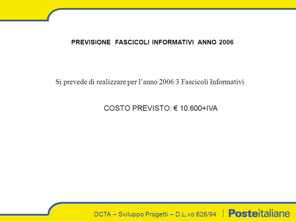 DCTA – Sviluppo Progetti – D.L.vo 626/94 Si prevede di realizzare per lanno 2006 3 Fascicoli Informativi COSTO PREVISTO: 10.600+IVA PREVISIONE FASCICOLI INFORMATIVI ANNO 2006