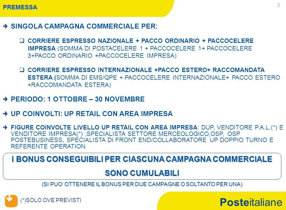 Mercato Privati CAMPAGNA COMMERCIALE CORRIERE ESPRESSO NAZIONALE+PACCO ORDINARIO + PACCOCELERE IMPRESA - 1 OTTOBRE - 30 NOVEMBRE 2010 -