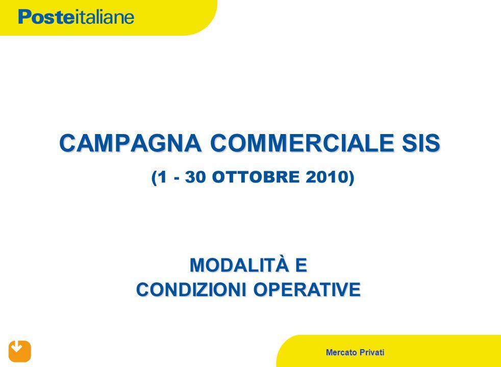 Mercato Privati CAMPAGNA COMMERCIALE SIS CAMPAGNA COMMERCIALE SIS (1 - 30 OTTOBRE 2010) MODALITÀ E CONDIZIONI OPERATIVE