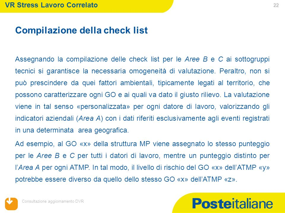 05/02/2014 Consultazione aggiornamento DVR 22 VR Stress Lavoro Correlato Compilazione della check list Assegnando la compilazione delle check list per