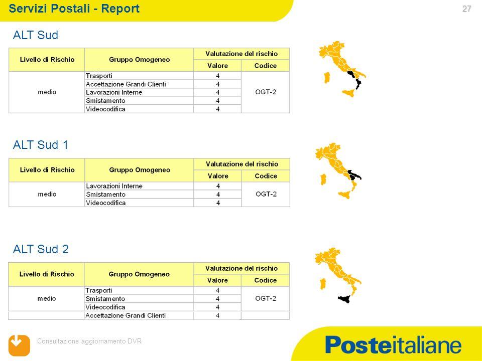 05/02/2014 Consultazione aggiornamento DVR 27 Servizi Postali - Report ALT Sud ALT Sud 1 ALT Sud 2