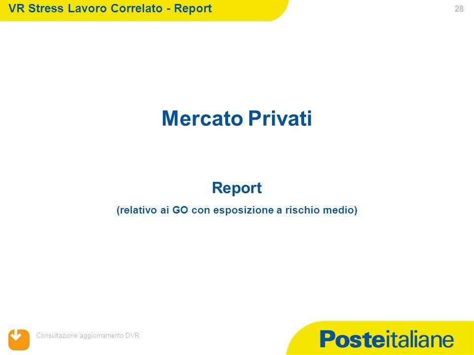 05/02/2014 Consultazione aggiornamento DVR 28 Mercato Privati Report (relativo ai GO con esposizione a rischio medio) VR Stress Lavoro Correlato - Rep