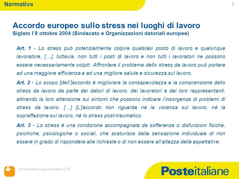 05/02/2014 Consultazione aggiornamento DVR 3 Art. 1 - Lo stress può potenzialmente colpire qualsiasi posto di lavoro e qualunque lavoratore, […], tutt