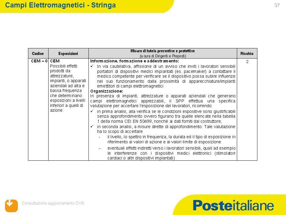05/02/2014 Consultazione aggiornamento DVR 37 37 Campi Elettromagnetici - Stringa