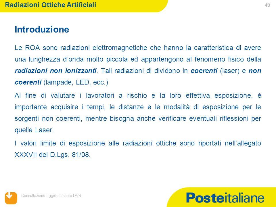 05/02/2014 Consultazione aggiornamento DVR 40 40 Le ROA sono radiazioni elettromagnetiche che hanno la caratteristica di avere una lunghezza donda mol