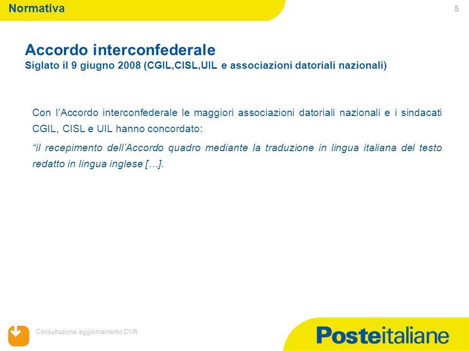 05/02/2014 Consultazione aggiornamento DVR 5 Con lAccordo interconfederale le maggiori associazioni datoriali nazionali e i sindacati CGIL, CISL e UIL