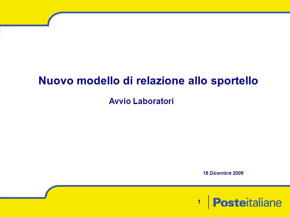 1 Nuovo modello di relazione allo sportello Avvio Laboratori 18 Dicembre 2006