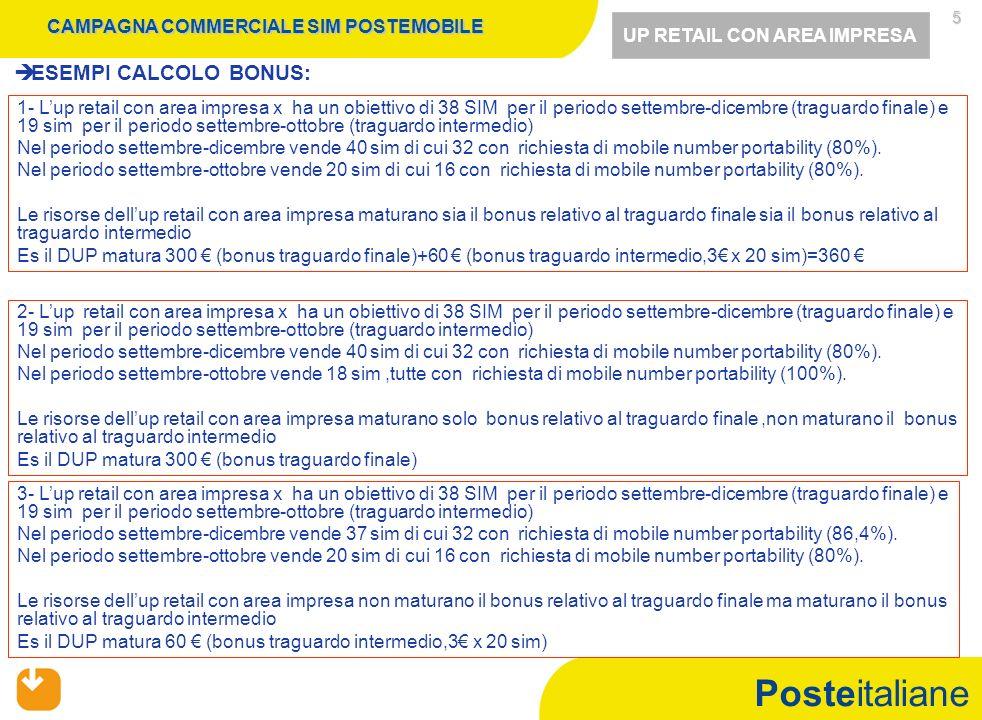 Posteitaliane 5 ESEMPI CALCOLO BONUS: 1- Lup retail con area impresa x ha un obiettivo di 38 SIM per il periodo settembre-dicembre (traguardo finale)