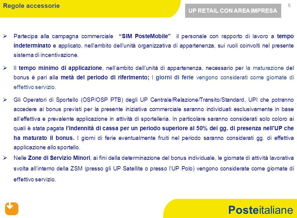 Posteitaliane 6 Partecipa alla campagna commerciale SIM PosteMobile il personale con rapporto di lavoro a tempo indeterminato e applicato, nellambito