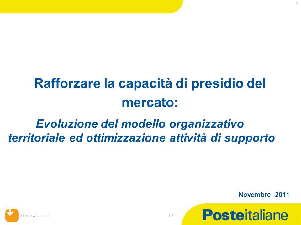 05/02/2014 MP/RU – RUO/SO IR 1 Novembre 2011 Rafforzare la capacità di presidio del mercato: Evoluzione del modello organizzativo territoriale ed otti