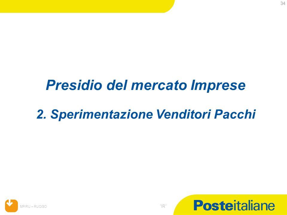 05/02/2014 MP/RU – RUO/SO IR 34 34 Presidio del mercato Imprese 2. Sperimentazione Venditori Pacchi