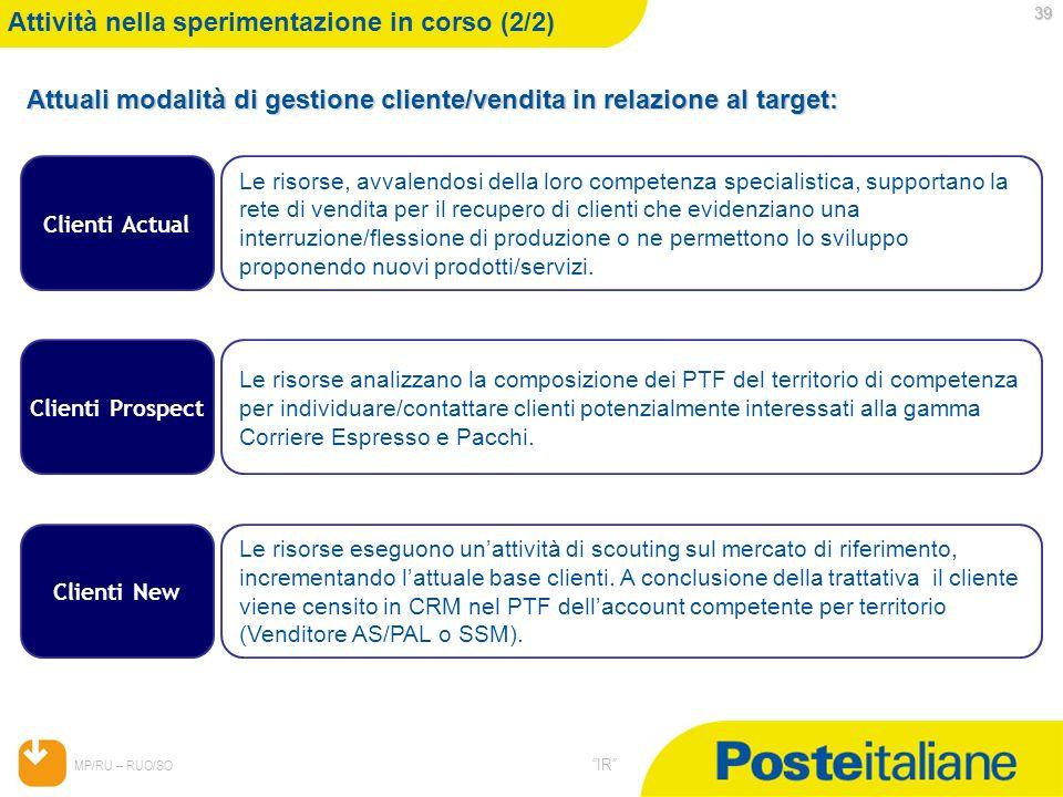 05/02/2014 MP/RU – RUO/SO IR 39 Attività nella sperimentazione in corso (2/2) Attuali modalità di gestione cliente/vendita in relazione al target: Cli