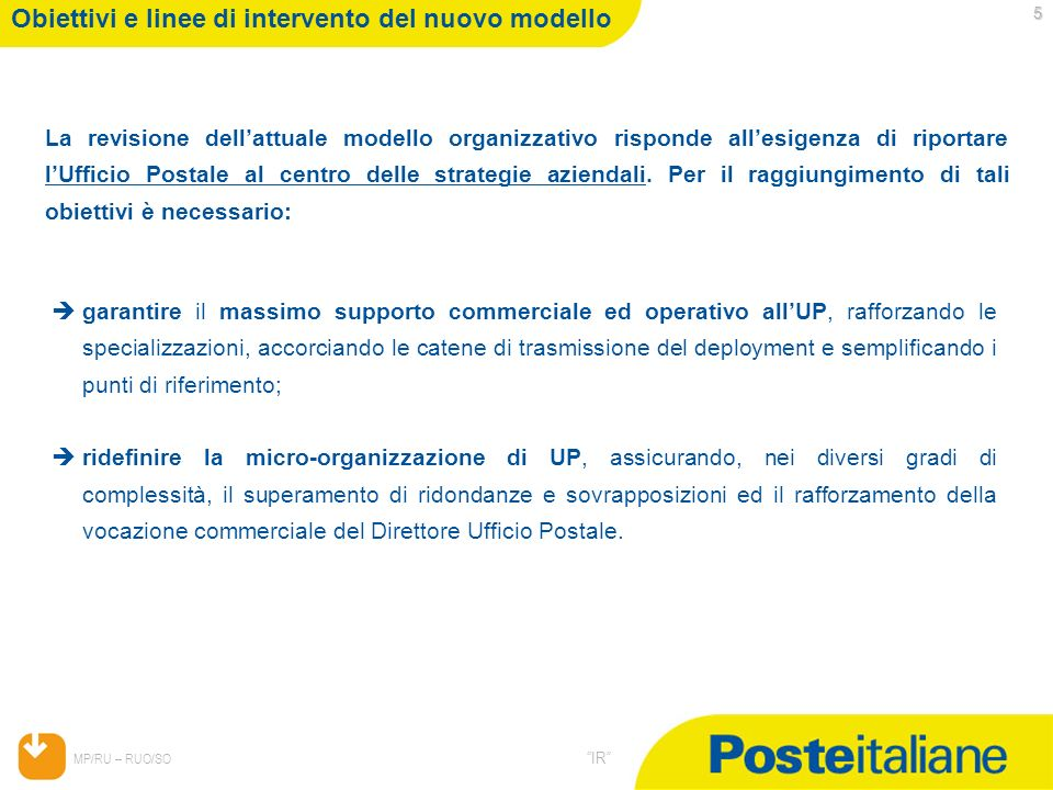 05/02/2014 MP/RU – RUO/SO IR 5 Obiettivi e linee di intervento del nuovo modello La revisione dellattuale modello organizzativo risponde allesigenza d