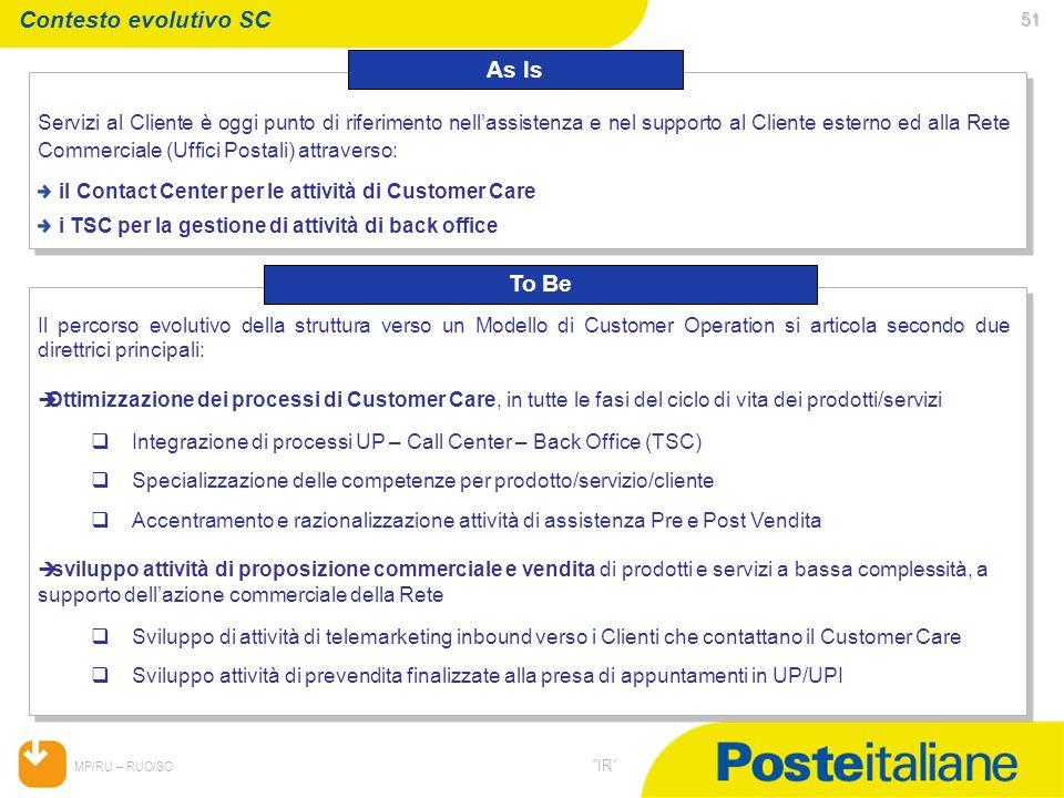 05/02/2014 MP/RU – RUO/SO IR 51 51 Contesto evolutivo SC Servizi al Cliente è oggi punto di riferimento nellassistenza e nel supporto al Cliente ester