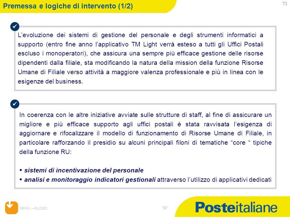 05/02/2014 MP/RU – RUO/SO IR 73 Premessa e logiche di intervento (1/2) Levoluzione dei sistemi di gestione del personale e degli strumenti informatici