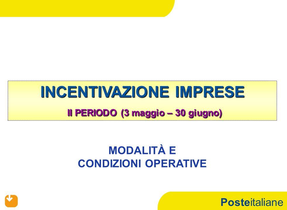 Posteitaliane INCENTIVAZIONE IMPRESE II PERIODO (3 maggio – 30 giugno) MODALITÀ E CONDIZIONI OPERATIVE