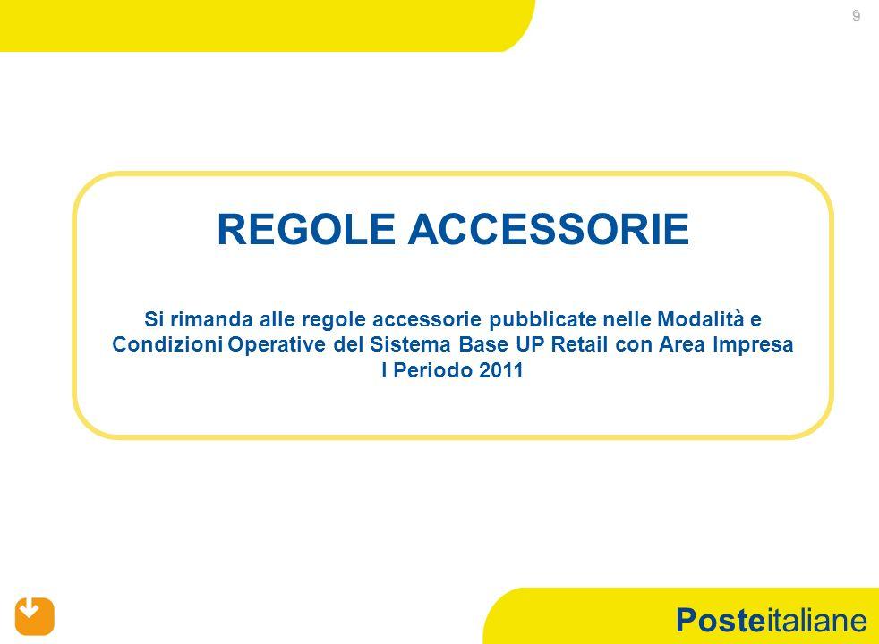 Posteitaliane 9 REGOLE ACCESSORIE Si rimanda alle regole accessorie pubblicate nelle Modalità e Condizioni Operative del Sistema Base UP Retail con Area Impresa I Periodo 2011