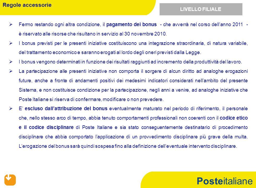 Posteitaliane Fermo restando ogni altra condizione, il pagamento dei bonus - che avverrà nel corso dellanno 2011 - è riservato alle risorse che risultano in servizio al 30 novembre 2010.