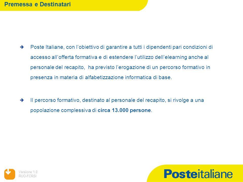 05/02/2014 Versione:1.0 RUO-FCRSI Premessa e Destinatari Poste Italiane, con lobiettivo di garantire a tutti i dipendenti pari condizioni di accesso a