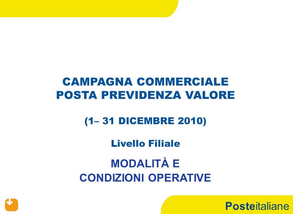 Posteitaliane CAMPAGNA COMMERCIALE POSTA PREVIDENZA VALORE (1– 31 DICEMBRE 2010) Livello Filiale MODALITÀ E CONDIZIONI OPERATIVE