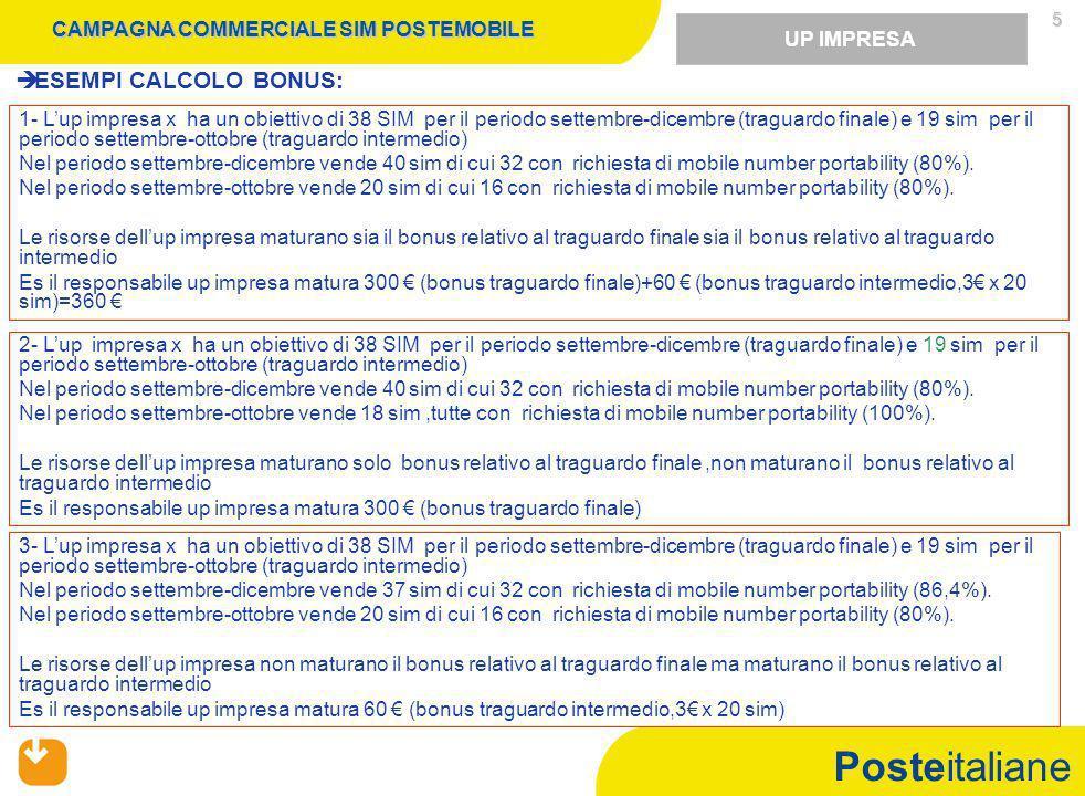 Posteitaliane 5 ESEMPI CALCOLO BONUS: 1- Lup impresa x ha un obiettivo di 38 SIM per il periodo settembre-dicembre (traguardo finale) e 19 sim per il