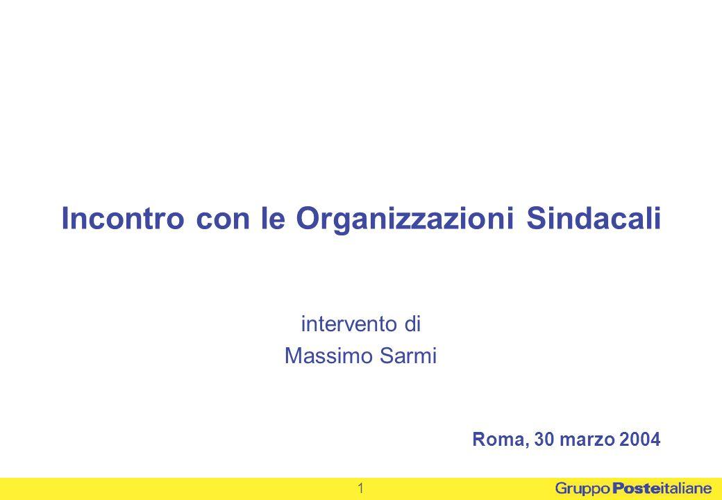 1 Roma, 30 marzo 2004 Incontro con le Organizzazioni Sindacali intervento di Massimo Sarmi