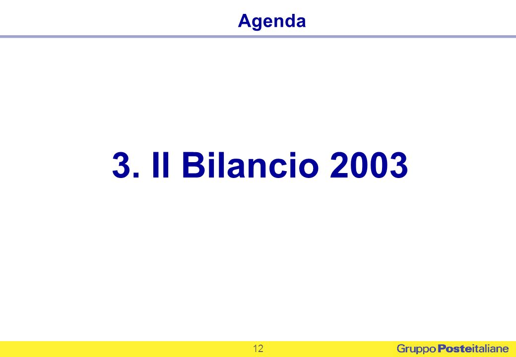 12 3. Il Bilancio 2003 Agenda