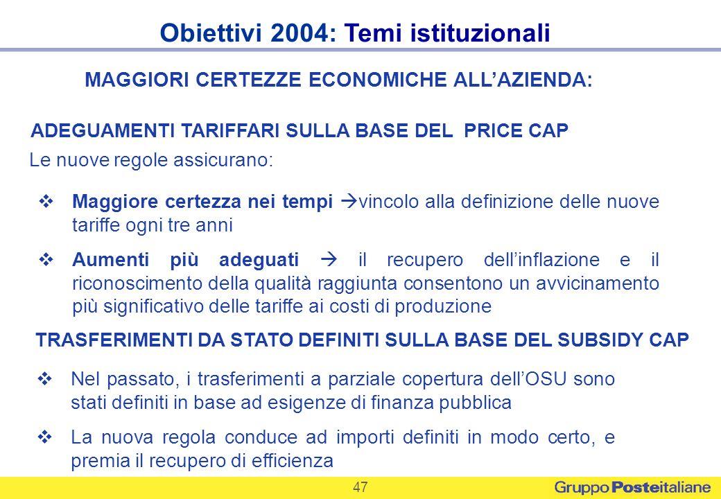 47 Obiettivi 2004: Temi istituzionali ADEGUAMENTI TARIFFARI SULLA BASE DEL PRICE CAP TRASFERIMENTI DA STATO DEFINITI SULLA BASE DEL SUBSIDY CAP Maggio