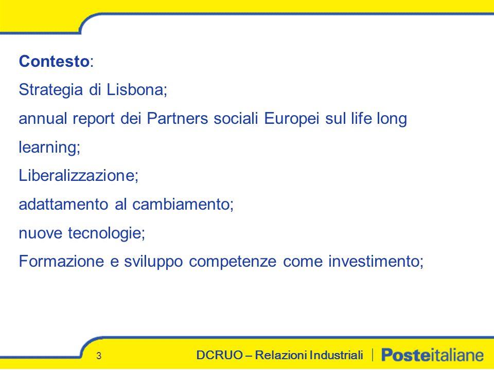 DCRUO – Relazioni Industriali 3 Contesto: Strategia di Lisbona; annual report dei Partners sociali Europei sul life long learning; Liberalizzazione; adattamento al cambiamento; nuove tecnologie; Formazione e sviluppo competenze come investimento;