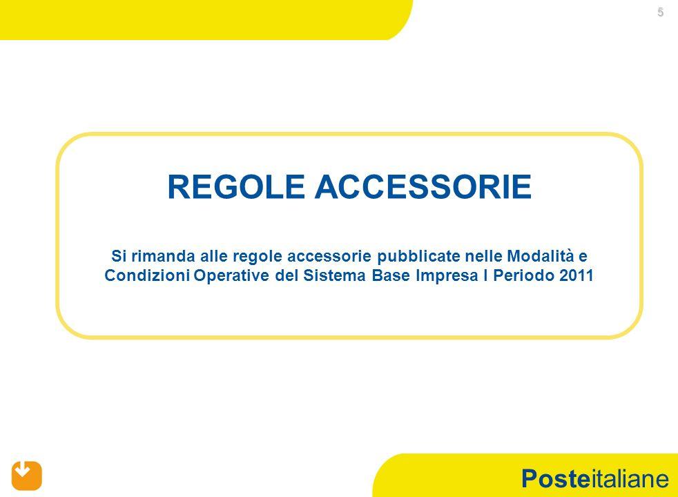 Posteitaliane 5 REGOLE ACCESSORIE Si rimanda alle regole accessorie pubblicate nelle Modalità e Condizioni Operative del Sistema Base Impresa I Periodo 2011