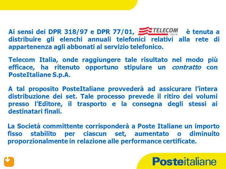 CONTESTO E TIPOLOGIA DI PRODOTTO Da questanno, la consegna delle Pagine Bianche per conto del personale Poste Italiane sarà estesa a 93 Aree Elenco per un totale di circa 13.655.000 pezzi.
