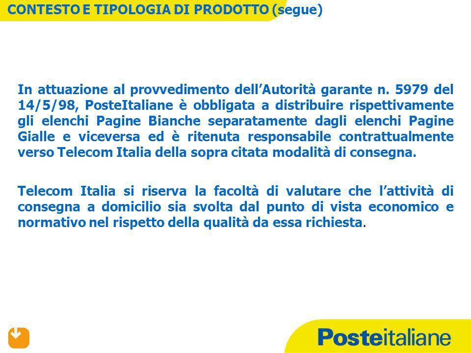 In attuazione al provvedimento dellAutorità garante n. 5979 del 14/5/98, PosteItaliane è obbligata a distribuire rispettivamente gli elenchi Pagine Bi