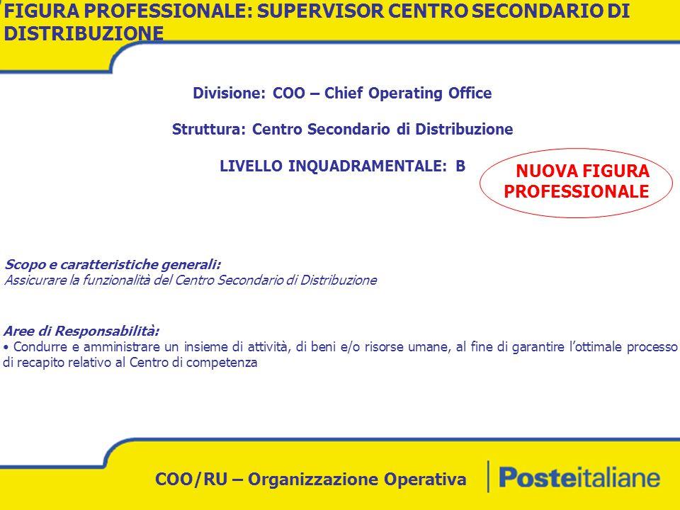 COO/RU – Organizzazione Operativa FIGURA PROFESSIONALERUOLOLIV.