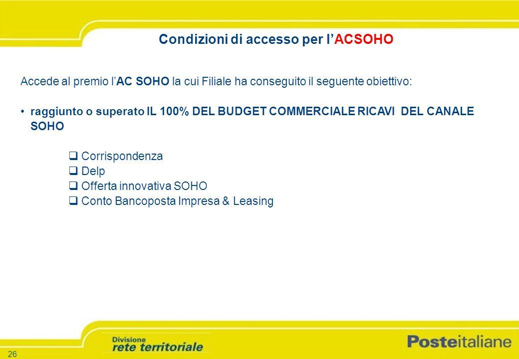 -26 - -Versione 1.5 – 26.03.04 26 Accede al premio lAC SOHO la cui Filiale ha conseguito il seguente obiettivo: raggiunto o superato IL 100% DEL BUDGET COMMERCIALE RICAVI DEL CANALE SOHO Corrispondenza Delp Offerta innovativa SOHO Conto Bancoposta Impresa & Leasing Condizioni di accesso per lACSOHO