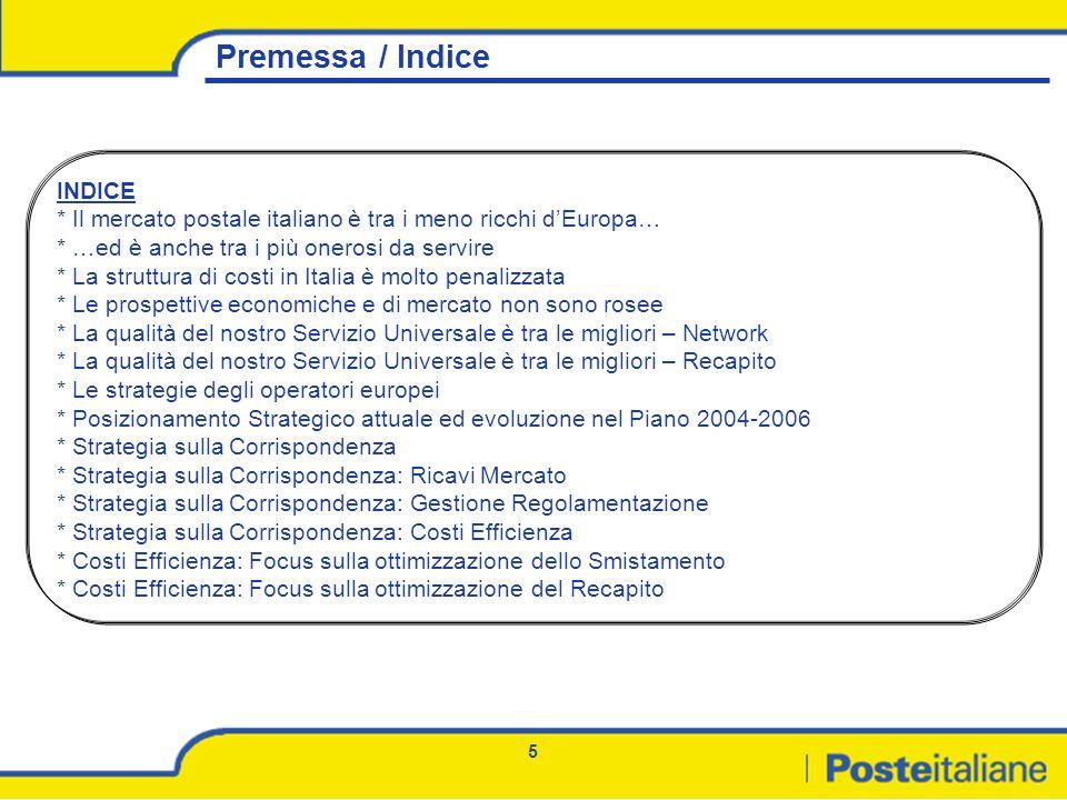 5 Premessa / Indice INDICE * Il mercato postale italiano è tra i meno ricchi dEuropa… * …ed è anche tra i più onerosi da servire * La struttura di cos